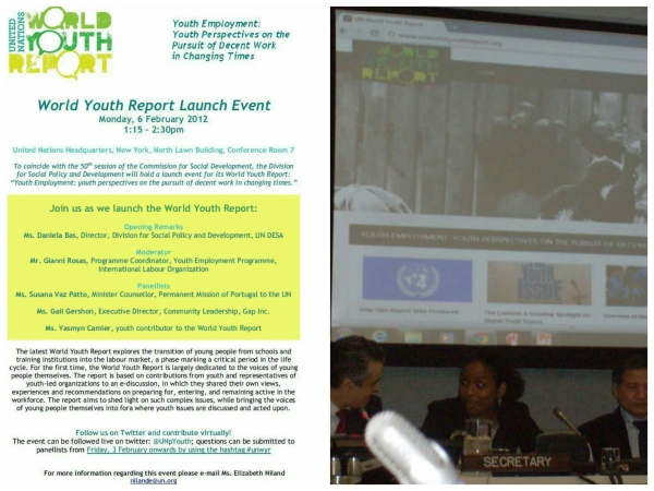 Yasmyn Camier Launch UN World Youth Report 2012