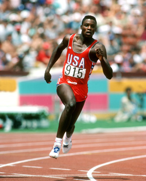 CARL LEWIS - Athlete (USA) 200m 08/08/94 Olympics 1984 @ Los Angeles © This Photograph is the copyright of George Herringshaw & the property of Associated Sports Photography 21 Green walk,Leicester LE3 6SE, England Tel +(0)116 2320310 . Reproduction is subject to our current terms & conditions previously notified. This image or any part of it is not licensed for syndication or use in electronic media, including CD ROM's, or Internet.